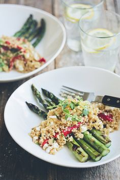 Grilled asparagus with peppers, feta, quinoa salad