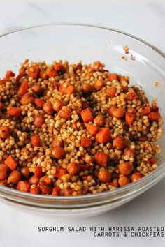 sorghum salad w/ harissa roasted carrots & chickpeas