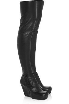 Black leather thigh high wedge boots