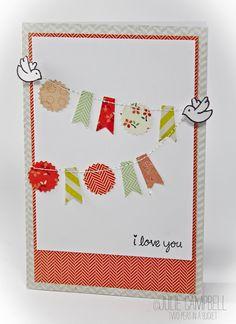 Julie Campbell craft, greet card, flag, card banner, cardmak inspir, banner idea, cards, banner card, banners
