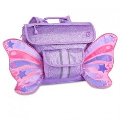 This sparkly purple butterfly wings backpack by Bixbee is perfect for your little girl!  Perfectly sized for a preschooler or kindergartner, this imaginative, award winning backpack features the unique, horizontal Bixbee design.  The cover flap pocket ope