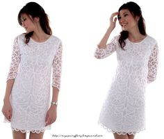 white lace and crochet dress