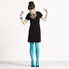 fashion, color combinations, tights, color tight, little black dresses, fall styles, kate spade, blues, designer clothing