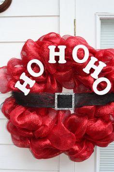 HO HO HO Santa Wreath using Deco Mesh