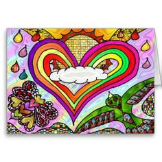 Psychedelic Rainbow Heart Art Print Greeting cards  by Lee Hiller #Photography and Designs