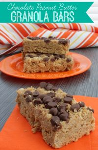 Chocolate Peanut Butter Granola Bars Recipe is the perfect granola bar when the kids are running out the door!