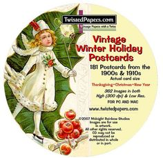 181 Winter HOLIDAY POSTCARDS on CD Thanksgiving by TwistedPapers, $9.95