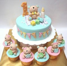 Super cute teddy bear and bunting cake for a first birthday or perhaps christening