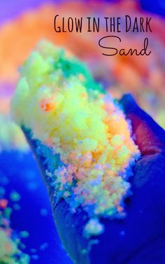 Make your own glow in the dark sand for sensory play, arts and crafts, glow in the dark sand art, magic melting sand play, and MORE!  So easy to make and so many ways to play!
