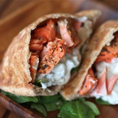 Healthy Broiled Salmon Gyros.. I plan on testing these for my Shrinking On a Budget Meal Plan.  They look amazing!