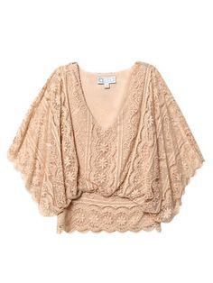 beyond vintage dolman sleeve lace blouse