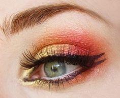 makeup tools, eye makeup, coral gold, summer makeup, sunset