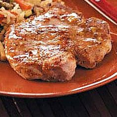 Maple glazed pork chops. My husband will literally leave work earlier if he knows I'm making these.  Also good with pork tenderloin roast!  Double the recipe (only serves 2) but keep the cinnamon the same -- too much!!