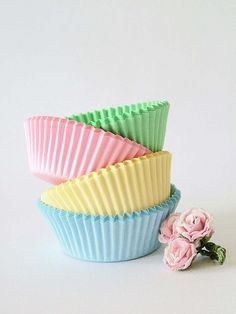 pretty pastels || #pastel #colours #party #cupcake #floral #yellow #blue #green #pink