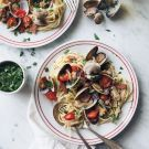 Try the Linguine with Clams, Bacon and Tomatoes Recipe on williams-sonoma.com/