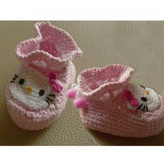 Hello Kitty Infant booties Socks Crochet Pattern
