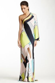 One Shoulder Gro Print Gown