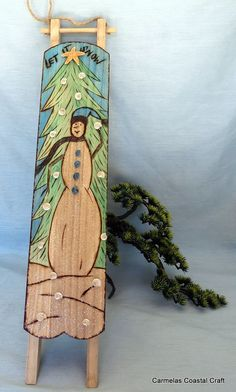 Let it SNOW wood sled for Beach decor and by CarmelasCoastalCraft