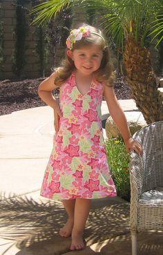 girls A-line summer dress pattern, pdf ebook, Macy REVERSIBLE Halter Dress size 2 - 8 SALE