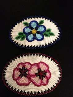 Beaded hair barrettes made by Ruth Agnes