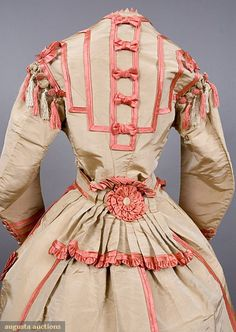 1867-1870 dress (bodice back) in cream and coral