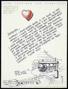 Citation: Eero Saarinen to Aline B. (Aline Bernstein) Saarinen, 1953 . Aline and Eero Saarinen papers, Archives of American Art, Smithsonian Institution.