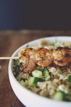 Spicy grilled shrimp w/ cucumber and cilantro rice