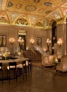 The most glamorous Art Deco Hotels and Hotel Lobbies...The Palmer House Hilton Hotel, Chicago    The Palmer House Hilton Hotel, Chicago