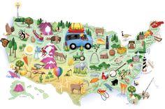 Washington Post - points of interest map,  Notice that North and South Dakota don't exist.   #map, #mappamundi