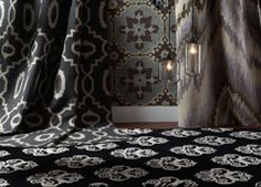 Love the drama Balustrade rug in Black from the @Biltmore collection brings to this room! #CapelRugs