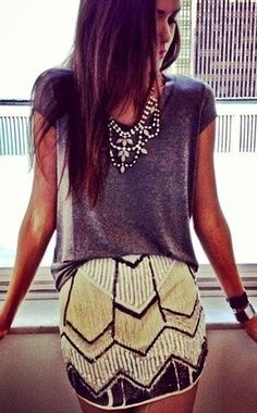 fashion, statement necklaces, style, sequin, outfit, mini skirts, t shirts, art deco, parti