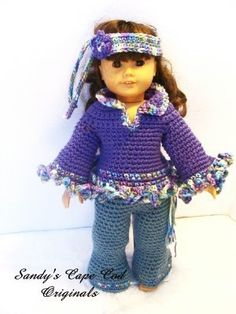 hippy clothes crochet pattern for American Girl dolls-- it would be fun to play with sparkly yarn for edging doll cloth, girl doll, 70s, 18inch doll, 18in doll, cloth crochet, doll crochet, crochet patterns, american girls