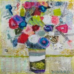 """Bouquet Remix"" 24x24 mixed media Shain Gallery 704.334.7744"
