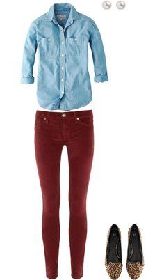 denim shirt, burgundy skinnies, leopard flats