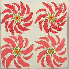"""""""Princess Feathers"""" Quilt, American, 19th century, seen at auction. Red, orange, and green against a cream ground."""
