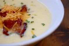 O Charley s Loaded Potato Soup. . .this soup is SO good!! Even my picky 12 year old loves it. I use canned, diced potatos to cut prep time down. Just as good (I've done it both ways)