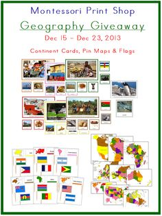 Great Giveaway; Geography Continent Bundles, Map Bundles and Pin Flag Bundles!!! kid