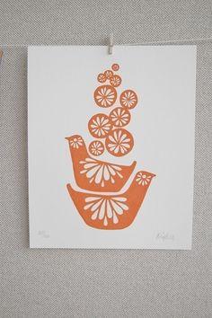 Orange Birds Stack Gocco Screenprint - LIMITED EDITION Mid Century Scandinavian Inspired Art