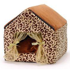 Leopard print plush dog house!!