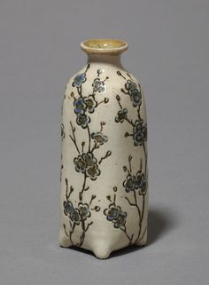 Martin Brothers Pottery - Bud Vase. Incised, Painted & Glazed Stoneware. Southall, Middlesex, England. Circa 1904.