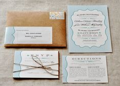 Rustic-Blue-White-Wedding-Invitations envelopes, vintage weddings, blue, kraft paper, beach weddings, vintage wedding invitations, rustic weddings, white weddings, rustic wedding invitations