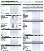 Personal Monthly Budget-- Excel templates
