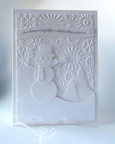 Started this card last Christmas season, used Cricut Snowman and trees.  Cuttlebug snowflakes for background.  Love the monochromatic look.