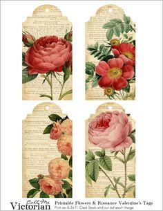 flower valentines tags
