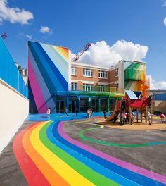 Colourful school in Paris #education #architecture