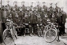 """Theodore Roosevelt who was Police Commissioner of NYC, c.1895, created a 29 member bike squad, known as the """"Scorcher Squad"""". Pictured here, during NYC's Gilded Age."""