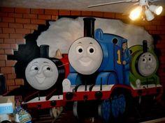 thomas the train, thoma train, mural, thomas train, train room