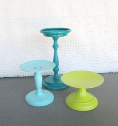 Lime Green Teal Aqua Shabby Candleholders Upcycled Painted Metal  Set of 3 pillar candle holders Beach wedding decor