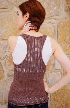 """""""Make up your mind"""" #knit racerback tank top; pattern uses cotton/nylon blend yarn. Free pattern written by Julie Crawford and available at knitty.com (spring/summer 2011)"""