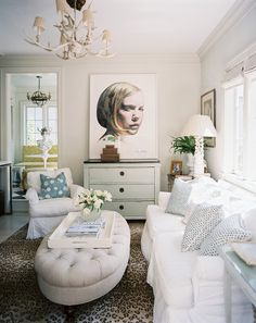 Living Room Photo - A leopard-print rug with white furniture
